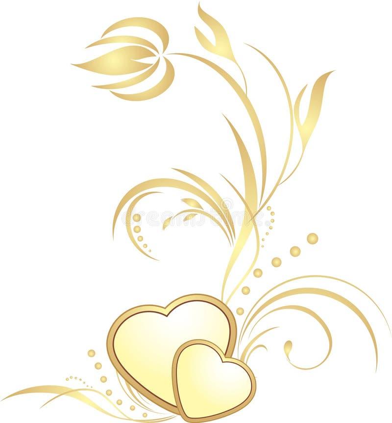 Corazones de oro con la puntilla decorativa ilustración del vector