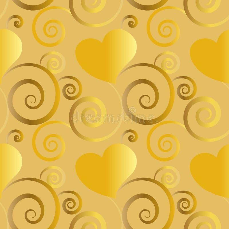 Corazones de oro hermosos con la decoración floral en teja inconsútil del modelo stock de ilustración