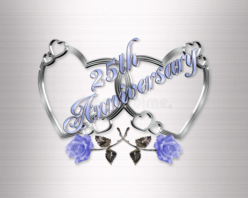 corazones de plata del 25to aniversario stock de ilustración