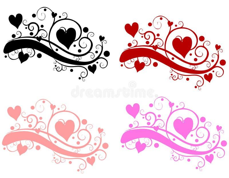 Corazones decorativos del día de tarjeta del día de San Valentín de los remolinos stock de ilustración