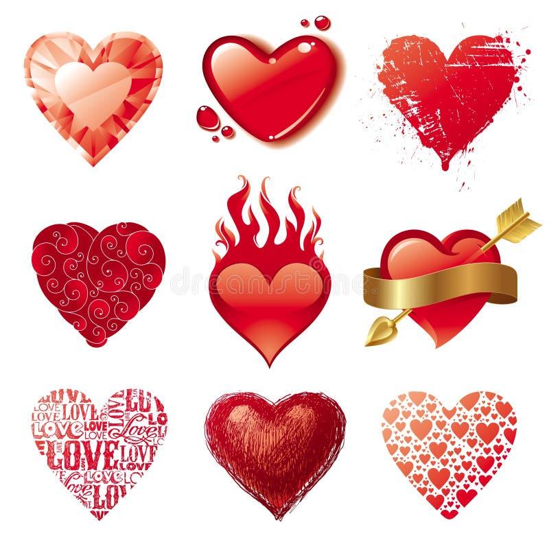 Corazones del amor de la tarjeta del día de San Valentín libre illustration