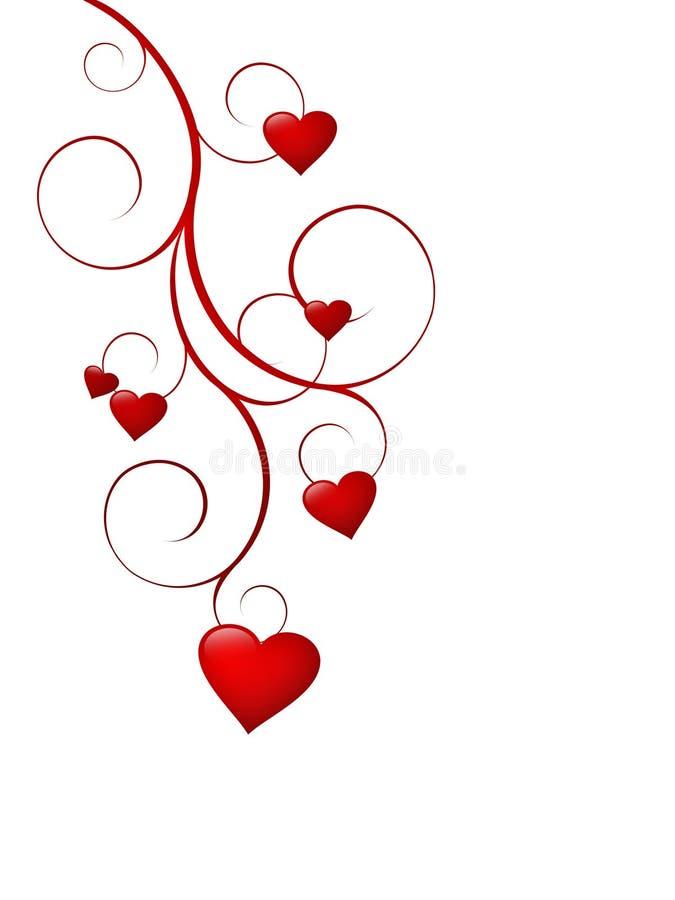 Corazones del amor en vástago rizado stock de ilustración