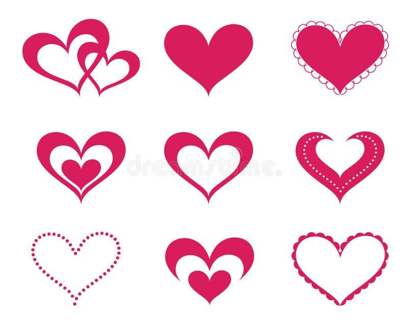 Corazones del amor fijados ilustración del vector