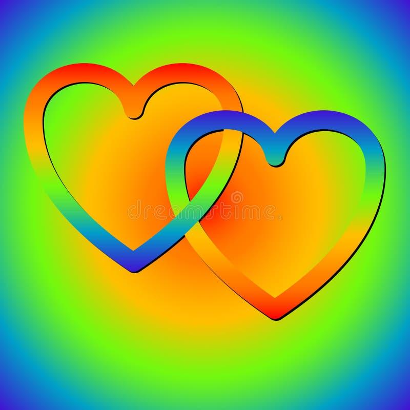 Corazones del arco iris stock de ilustración