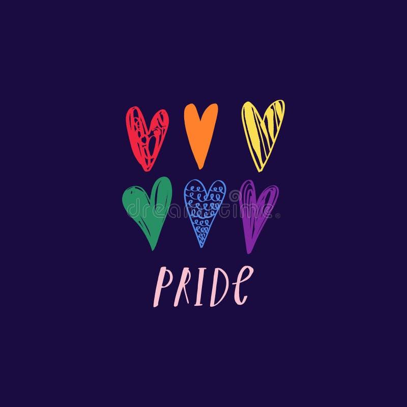 Corazones del arco iris fijados S?mbolo de LGBT Forma del corazón del arco iris Orgullo que pone letras a desfile Tarjeta, bander ilustración del vector