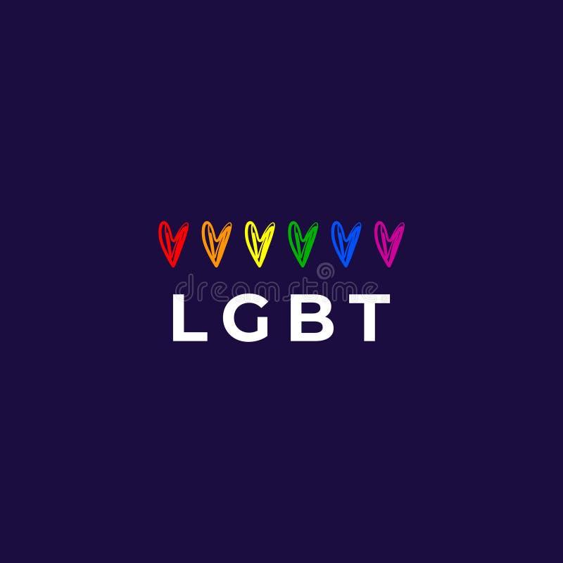 Corazones del arco iris fijados S?mbolo de LGBT Forma del corazón del arco iris Orgullo que pone letras a desfile Tarjeta, bander stock de ilustración