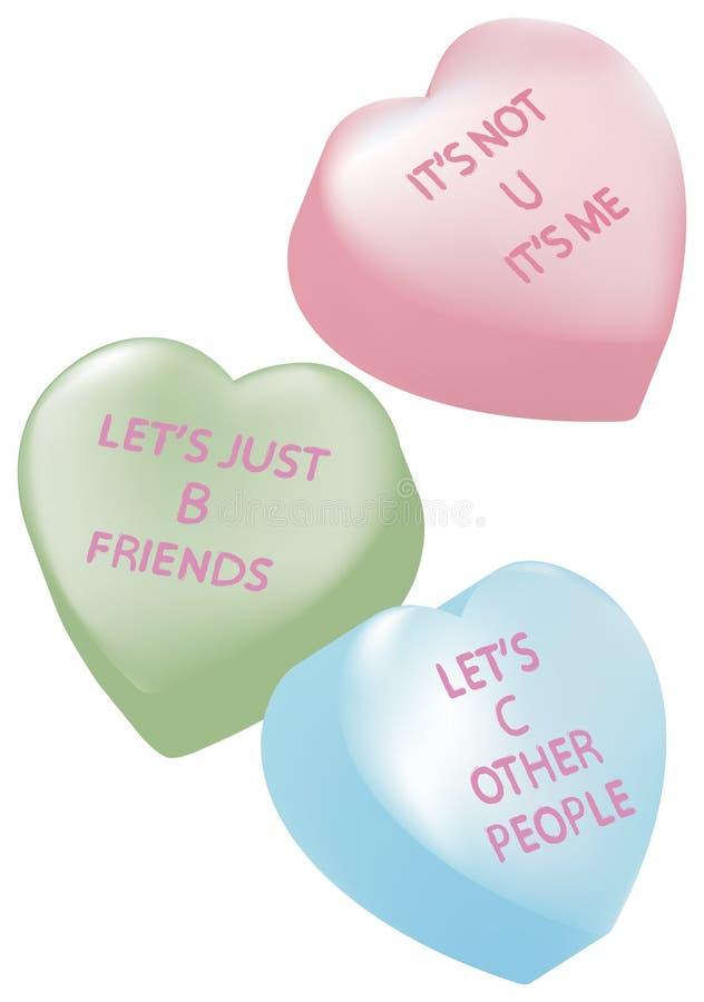 Corazones del caramelo con los mensajes de la desintegración libre illustration