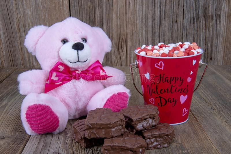 Corazones del caramelo del día de tarjetas del día de San Valentín foto de archivo libre de regalías