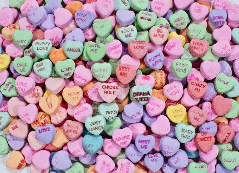 Corazones del caramelo de la conversación imagen de archivo libre de regalías