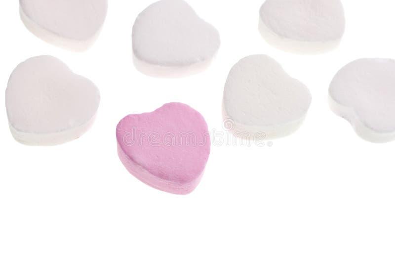 Corazones del caramelo del día de tarjeta del día de San Valentín foto de archivo