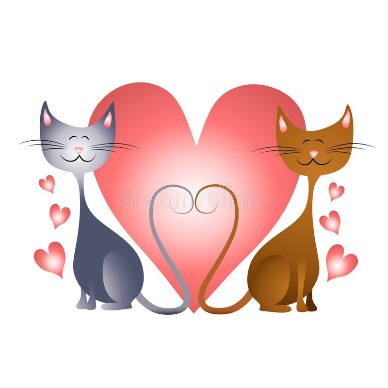 Corazones Del Día De Tarjeta Del Día De San Valentín Con Los Gatos En Amor Fotos de archivo libres de regalías