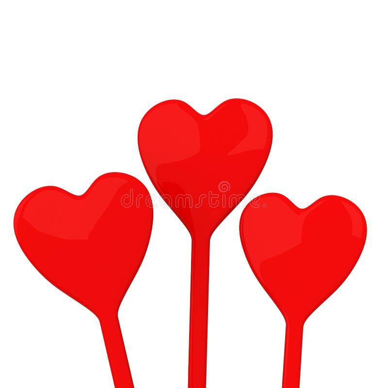 Corazones del día de tarjetas del día de San Valentín, 3d ilustración del vector