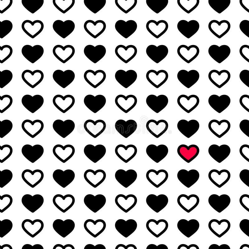 Corazones del día del ` s de la tarjeta del día de San Valentín en el color blanco y negro, modelo inconsútil Ejemplo monocromáti libre illustration