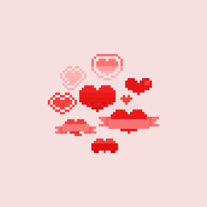 Corazones del pixel fijados D?a del `s de la tarjeta del d?a de San Valent?n 8bit libre illustration