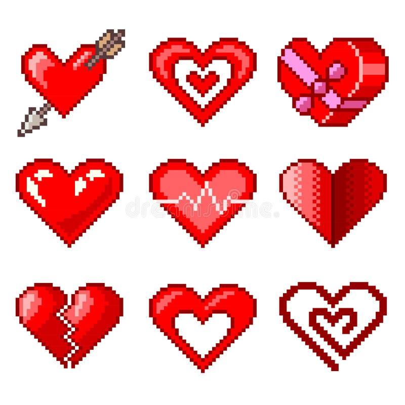 Corazones del pixel para el sistema del vector de los iconos de los juegos stock de ilustración