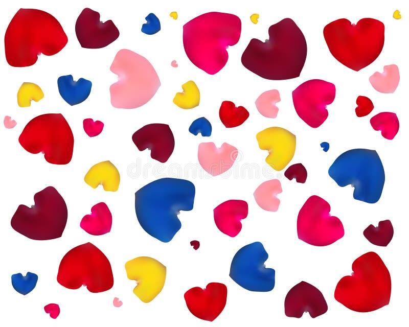 Corazones del rosa, amarillos, azules y rojos ilustración del vector