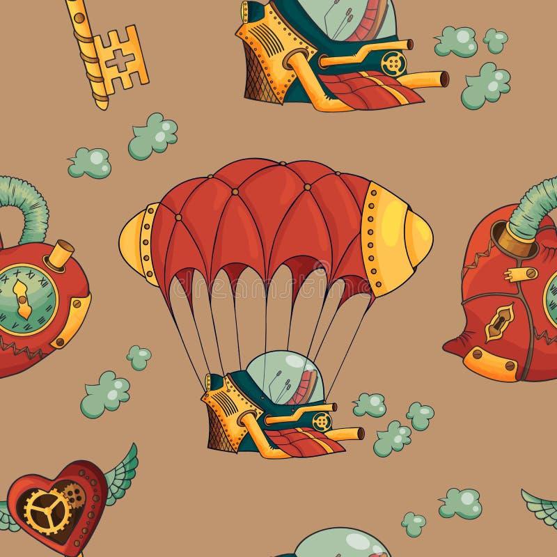 Corazones del steampunk del modelo, dirigible s y llaves inconsútiles en fondo del café libre illustration