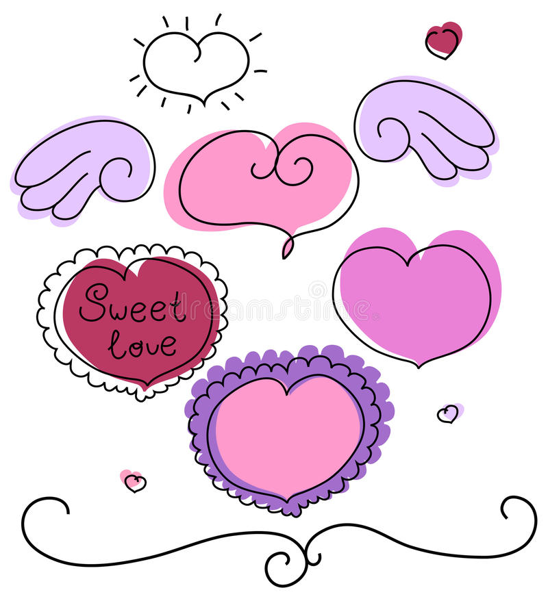 Corazones del vector del día de tarjeta del día de San Valentín fijados stock de ilustración