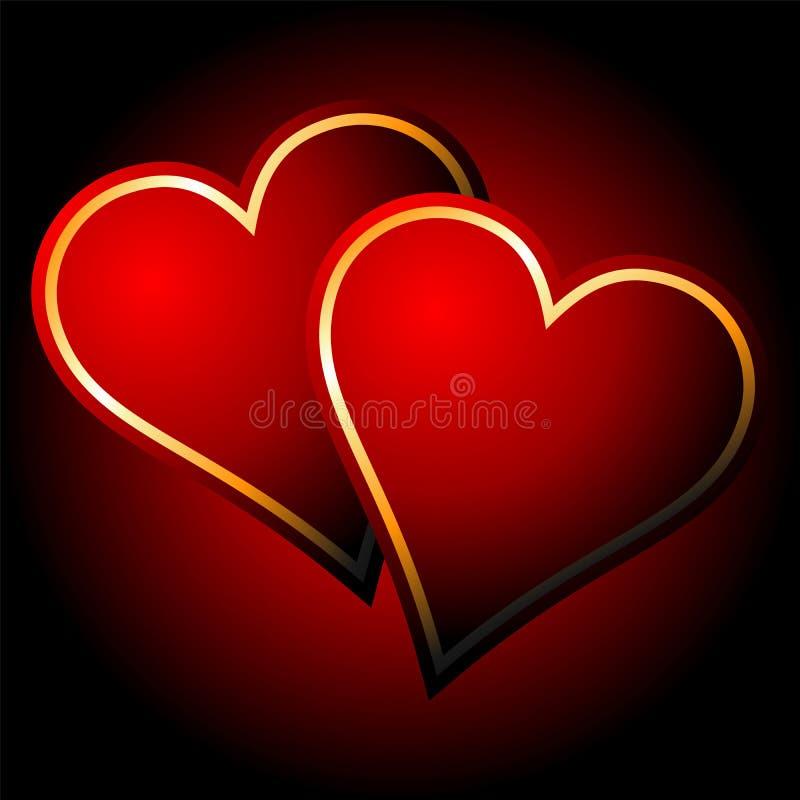 Corazones en amor stock de ilustración