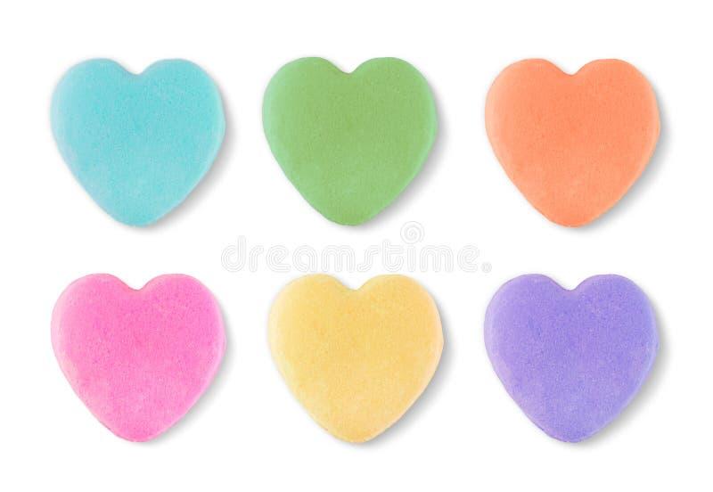 Corazones en blanco de las tarjetas del día de San Valentín del caramelo imagen de archivo libre de regalías