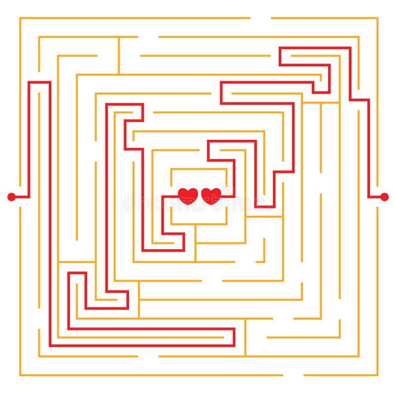 Corazones en laberinto del amor ilustración del vector