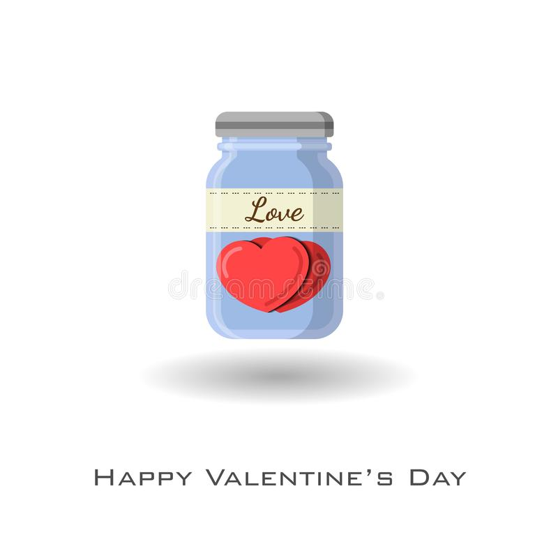 Corazones en tarro con la etiqueta del amor para celebrar a la tarjeta del día de San Valentín libre illustration