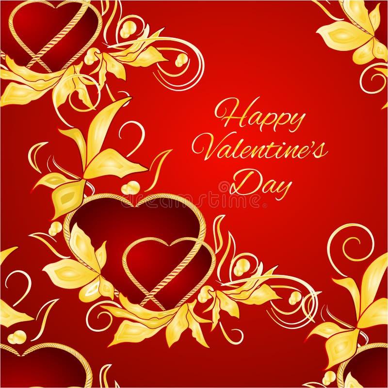 Corazones felices del día de San Valentín de la textura inconsútil con la mano editable del fondo de las hojas del oro del vintag ilustración del vector