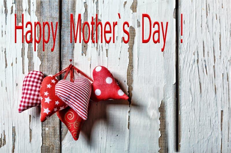 Corazones felices del día del ` s de la madre Mime ` s día al día de la madre s del 26 de mayo imágenes de archivo libres de regalías