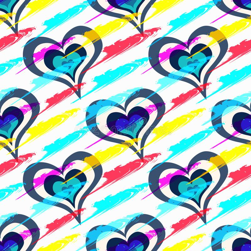 Corazones hermosos coloreados en el día del modelo inconsútil de la tarjeta del día de San Valentín santa stock de ilustración