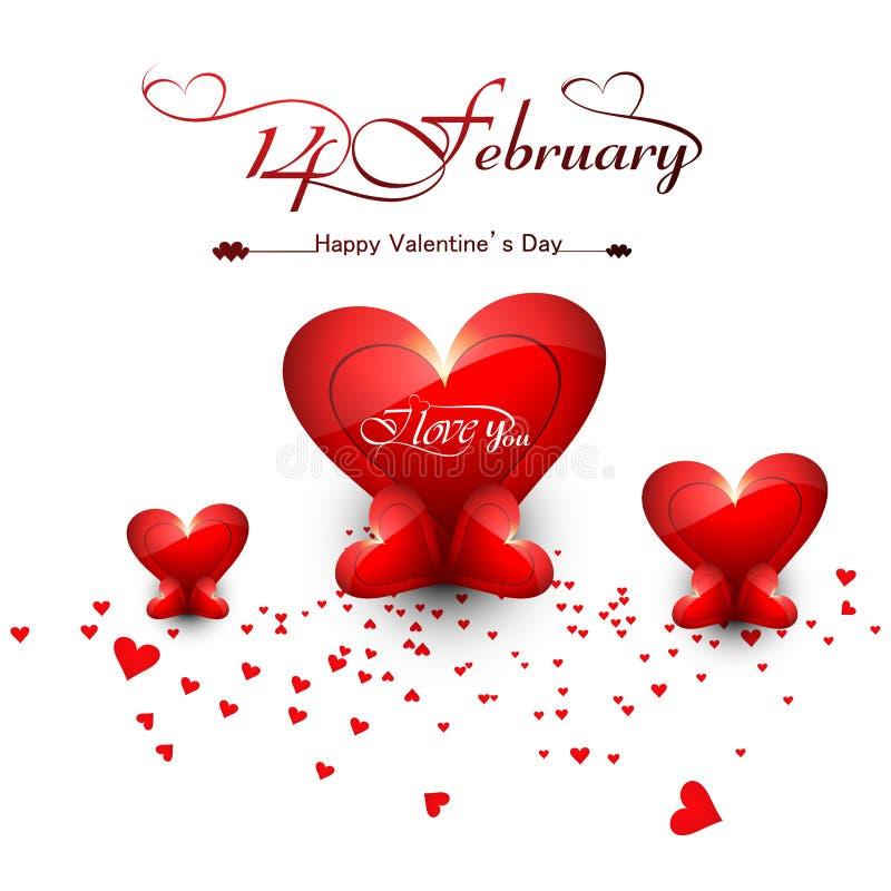 Corazones hermosos para el texto elegante feliz del día de tarjeta del día de San Valentín stock de ilustración