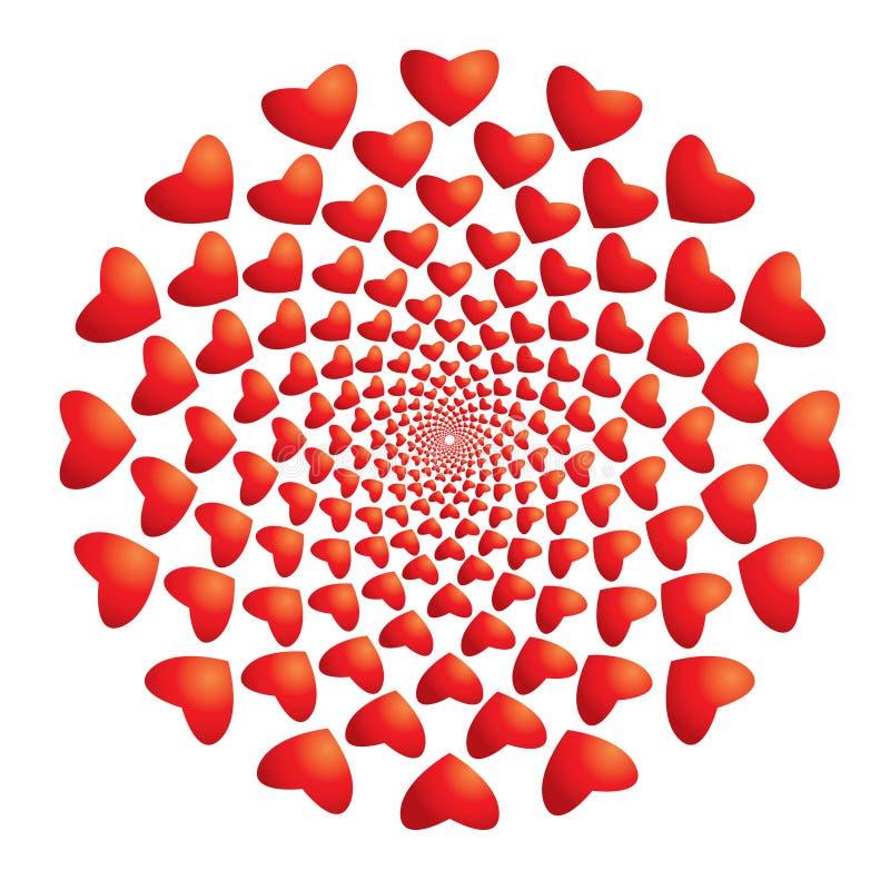 Corazones hipnóticos ilustración del vector