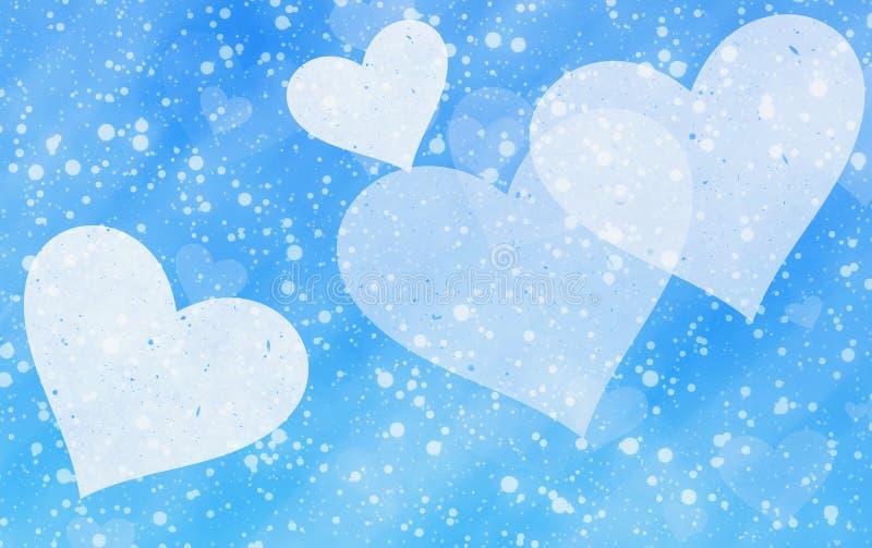 Corazones ligeros soñadores en fondos azules de la nieve stock de ilustración