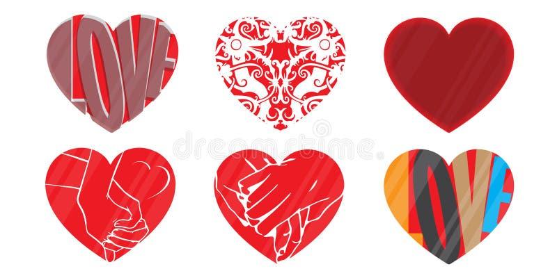 Corazones logotipo, vector del amor fotos de archivo