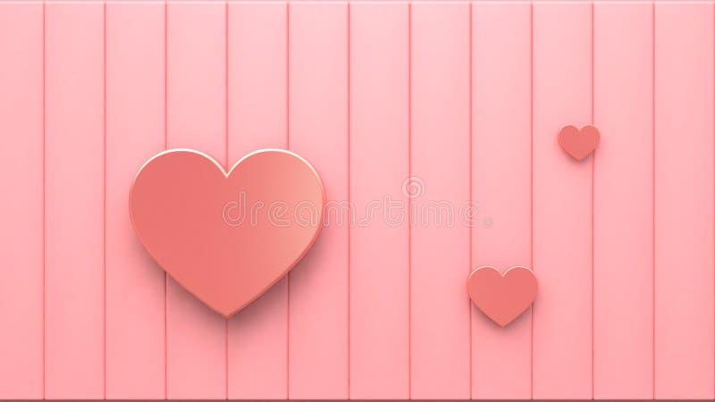 Corazones metálicos rosados en el piso rosado 3d que rinde el fondo abstracto mínimo del concepto de la tarjeta del día de San libre illustration