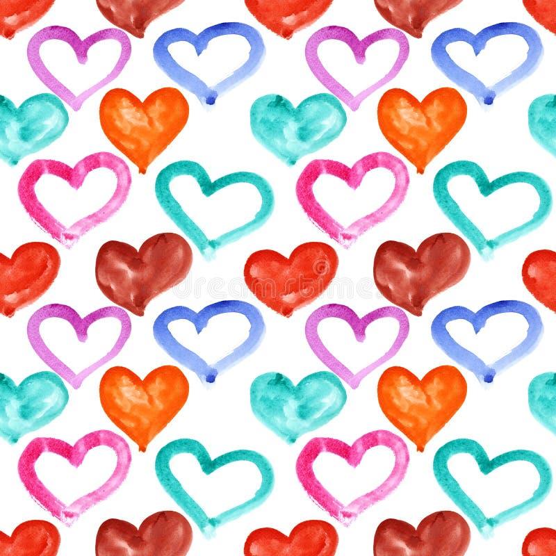 Corazones multicolores de la acuarela ilustración del vector