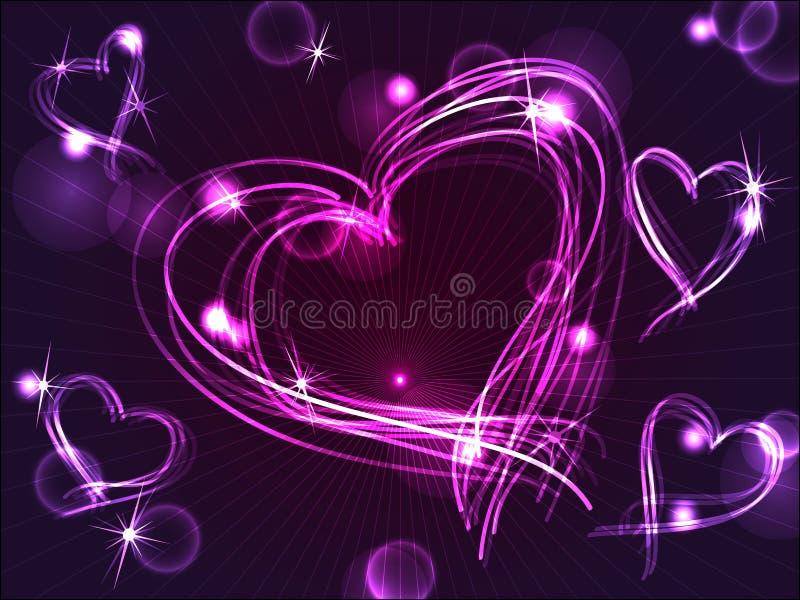 Corazones púrpuras del neón o del plasma stock de ilustración