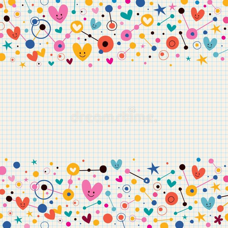 Corazones, puntos y fondo retro enrrollado del papel de nota de las estrellas libre illustration
