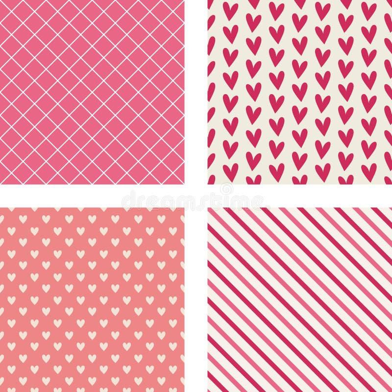 Corazones, rayas diagonales y modelos de la marca de rayitas cruzadas libre illustration