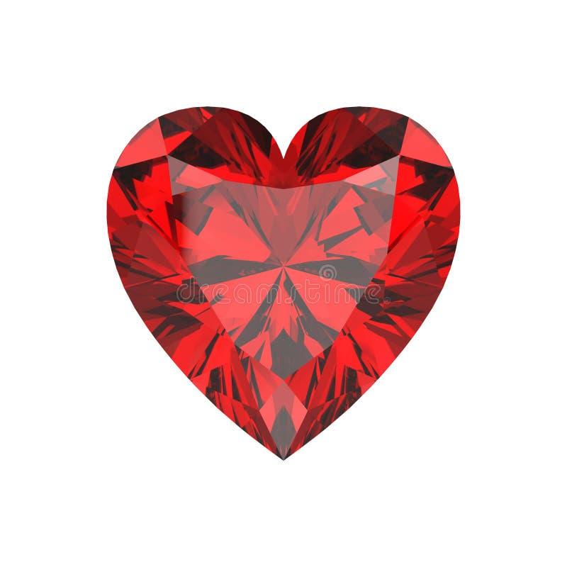 corazones rojos aislados ejemplo del diamante del casino 3D stock de ilustración