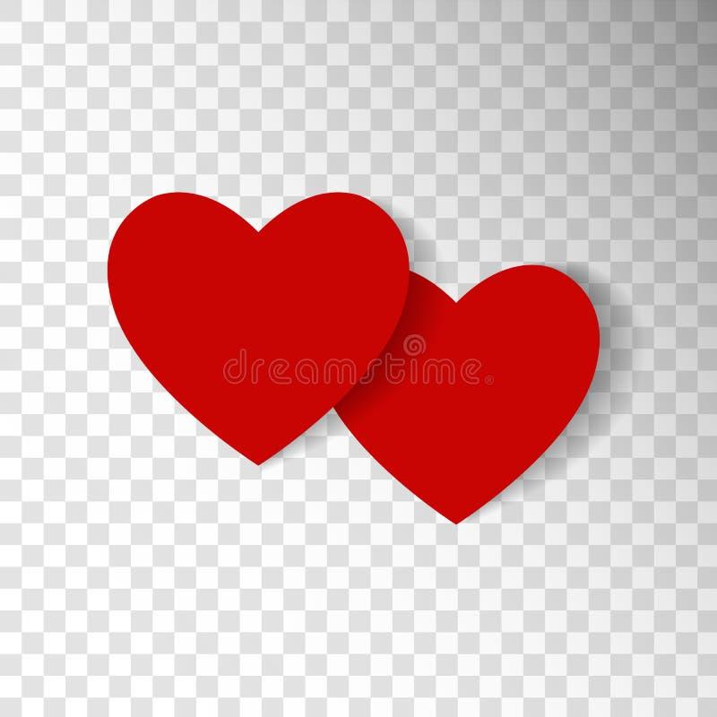 Corazones rojos aislados en fondo transparente Símbolo del amor desi stock de ilustración