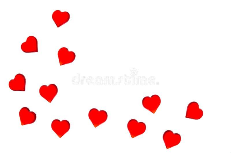 Corazones rojos brillantes en un fondo rayado Para utilizar día del ` s de la tarjeta del día de San Valentín, bodas, día interna ilustración del vector