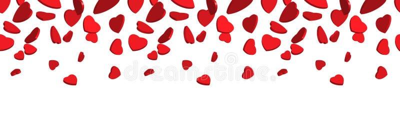 corazones rojos 3d que caen desde arriba Vector la frontera superior inconsútil de los corazones rojos aislados en el fondo blanc ilustración del vector