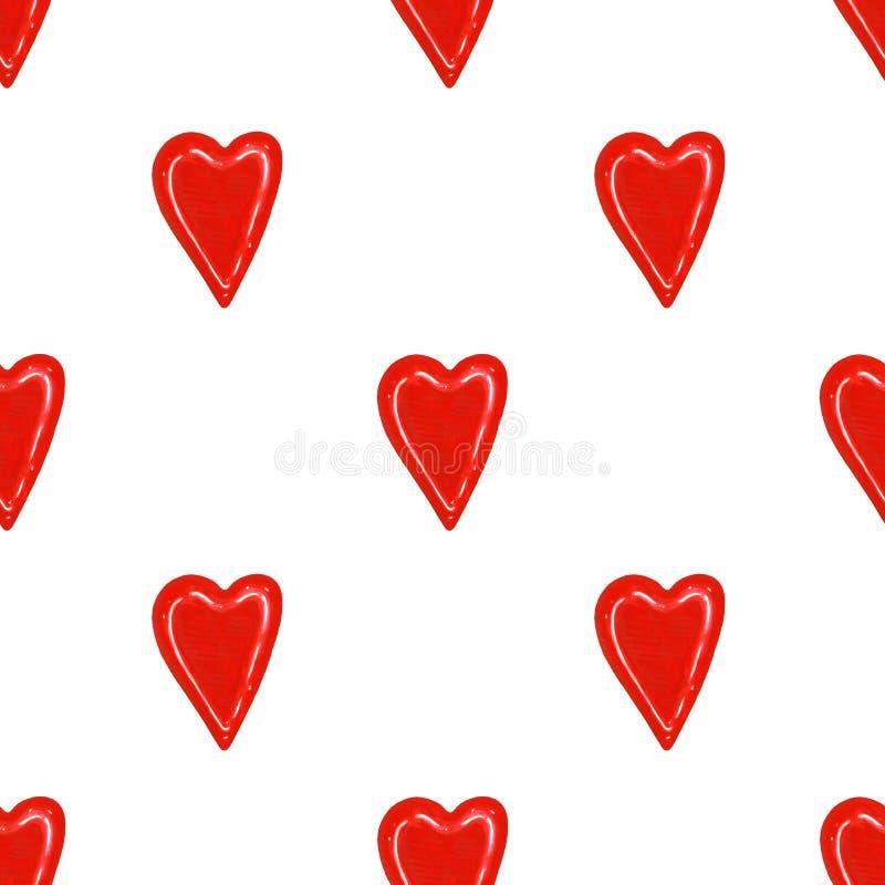 Corazones rojos de la acuarela en el fondo blanco Modelo inconsútil Fondo del día del ` s de la tarjeta del día de San Valentín libre illustration