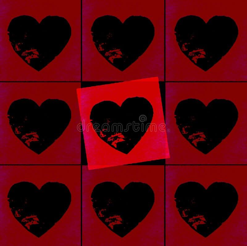 Corazones rojos de la tarjeta del día de San Valentín imágenes de archivo libres de regalías