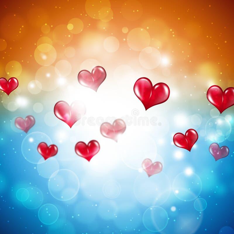Corazones rojos de la tarjeta del día de San Valentín ilustración del vector