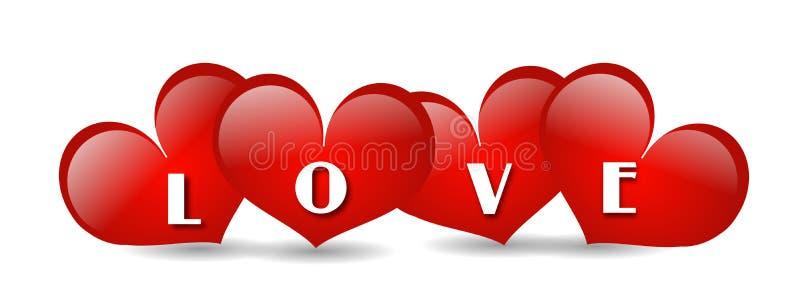 Corazones rojos del amor ilustración del vector