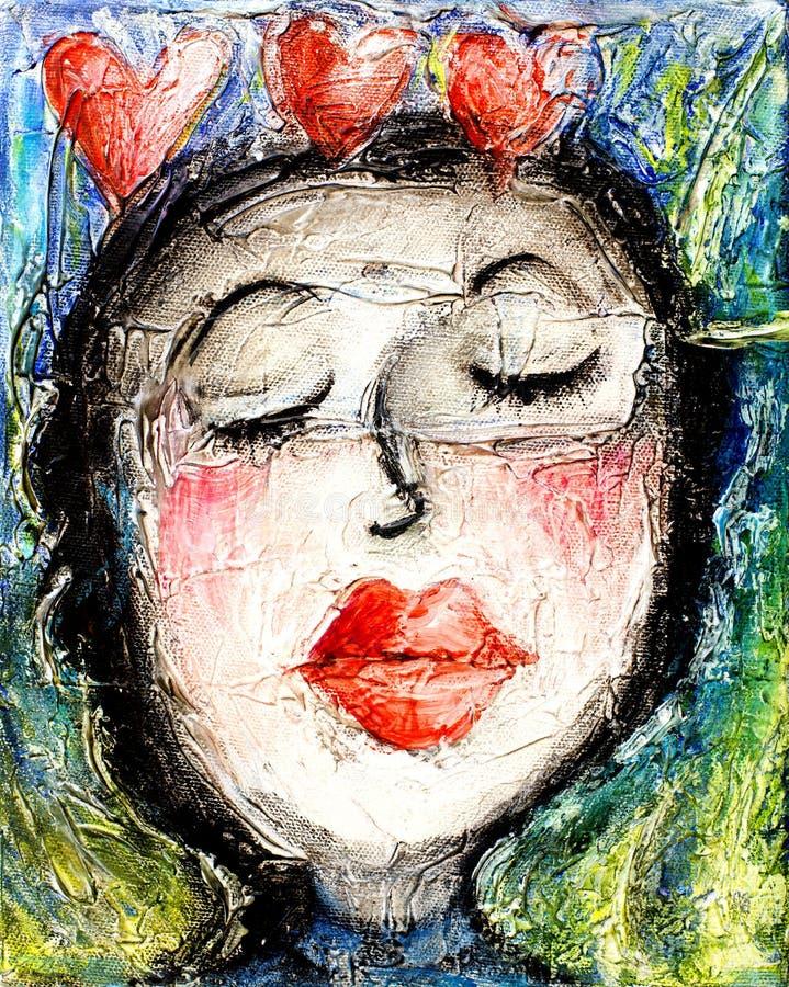Corazones rojos del amor de los labios del beso de la muchacha ilustración del vector