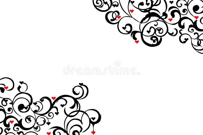 Corazones rojos dispersados ilustración del vector