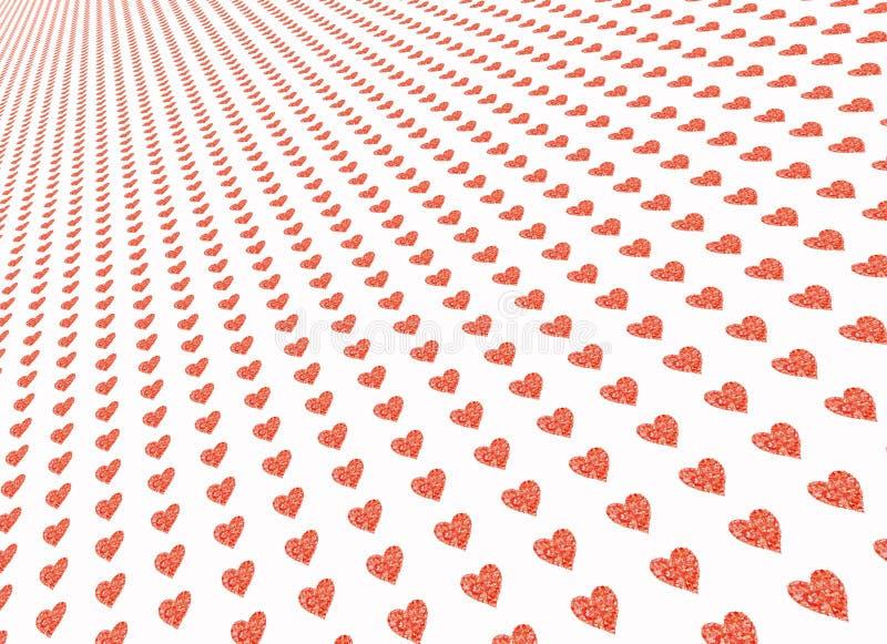Corazones rojos en los fondos blancos ilustración del vector