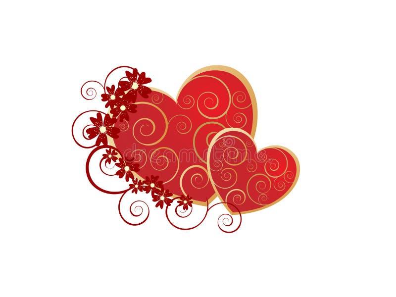 Corazones románticos de la tarjeta del día de San Valentín ilustración del vector